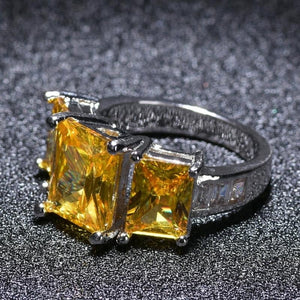 2018 floating exotic three stone rings of square shape zircon stone - QJ jewelry