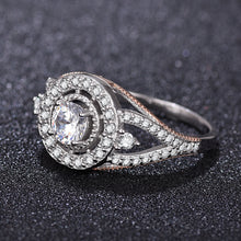 Two tone new design big diamond silver ring lover ring - QJ jewelry