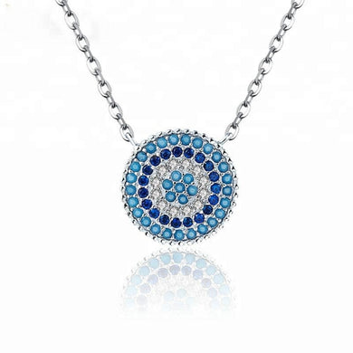Statement Jewelry Sapphire Blue CZ Pendant Necklace 925 Silver Colourful Disc Pendant Necklace for women - QJ jewelry