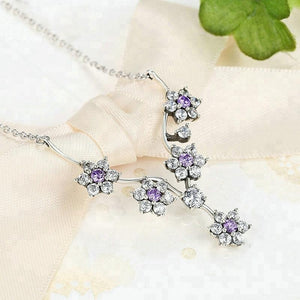 Fancy Flower Tree Charming Necklace 925 silver Cheap wholesale Leaf Pendant necklace Jewelry Set - QJ jewelry