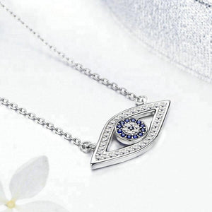 The Evil Eye Pendant Necklace 925 Silver Sapphire blue stone Handmade Charms Necklace for female - QJ jewelry