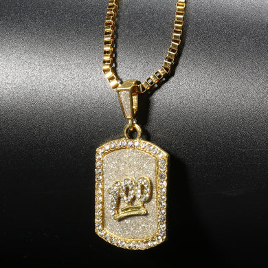 Luxury Iced Out Rhinesstone Dog Tag Necklace Gold Color Crystal Emoji 100 Points Pendant Necklace Men Hip Hop Jewelry