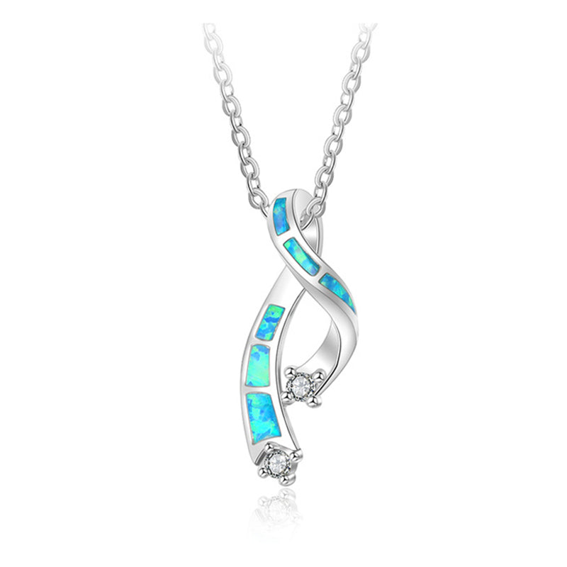 Ribbon shape opal necklace unique silver pendant for women - QJ jewelry