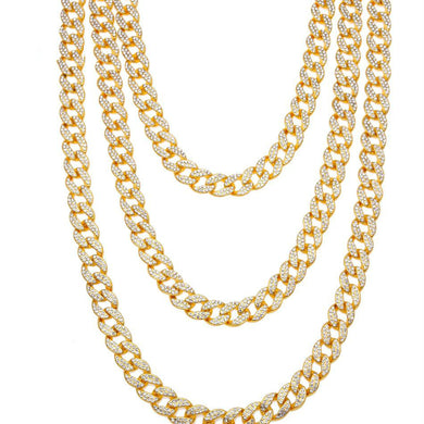 European and American hip hop jewelry full diamond Cuban necklace Multi-standard - QJ jewelry