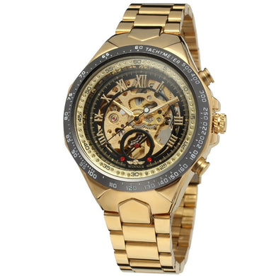 High QualityWinner New Number Sport Design Bezel Golden Watch Mens Watches Top Brand Luxury Montre Homme Clock Men Automatic Skeleton Watch - QJ jewelry