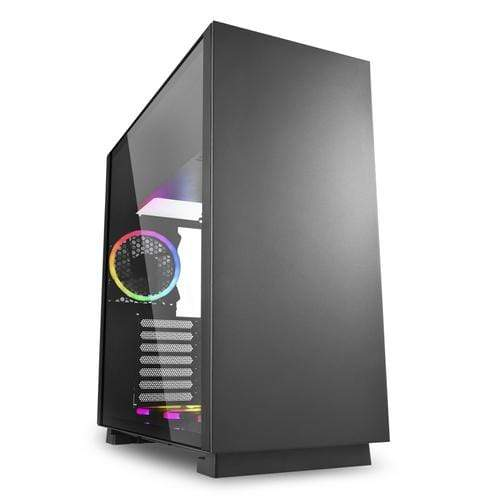 SHARKOON - CASE - PURE STEEL RGB - SHARKOON CASE ATX PURE STEEL,7 SLOT, 2XUSB3, 1X120MM RGB REAR, 1X120MM RGB DOWN, WINDOW, BLACK - Gaming Distribution