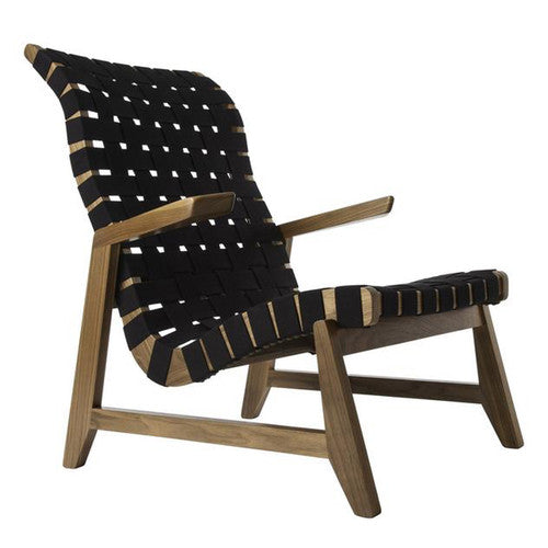 Ralph Rapson Highback Greenbelt Lounge Black Cotton Walnut Wood Brass Tacks