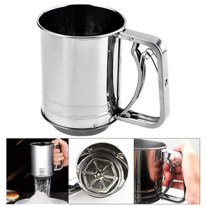 Flour Sifter For Baking Hand Press With Stainless Steel Design