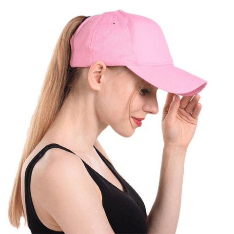 Ponytail Hat in light pink - living a sweeter life