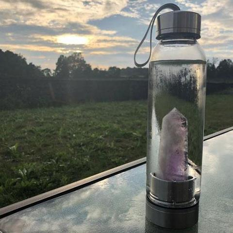 natural healing crystal water bottle align your chakra glass gym