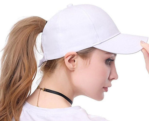 Ponytail Hat in white - living a sweeter life