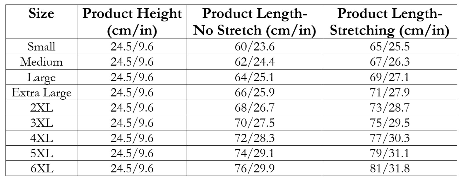 Waist Trainer sizing chart for Living a Sweeter Life