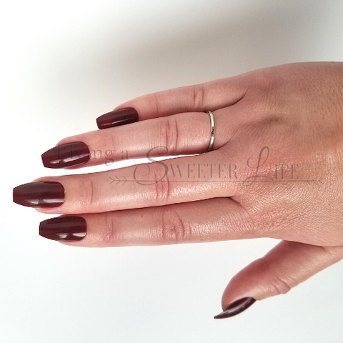 coffin nails in red wine shade - living a sweeter life blog