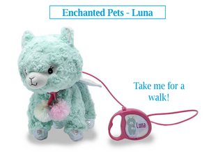 "Luna is an enchanted pet from Cuddle Barn. She is a 11"" llama that walks and wags her tail to playful phrases when her leash is activated. Great for birthday gifts!"