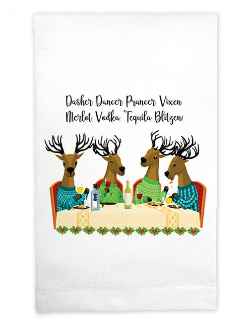 Tea Towel: Dasher. Dancer. Prancer. Vixen. Merlot. Vodka. Tequila. Blitzen