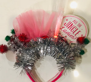 "Holiday Light Up Headband -  ""All the Jingle LadiesPink Tulle and Silver Tinsel"