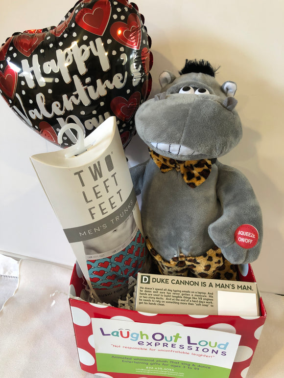 Hunky Hippo Valentines Gift Basket