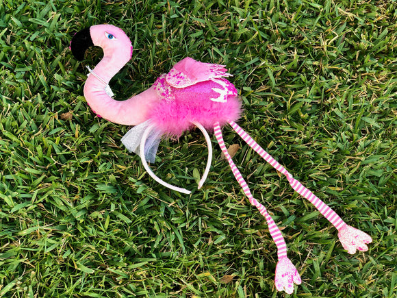 Flamingo hot pink sequin and tulle headband