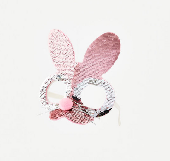 Bunny Sequin Face Mask Glasses