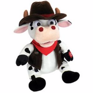 "This 11"" cow with vest, hat and neck scarf is the perfect gift for Valentine's Day. Created by Chantilly Lane, his head sways and mouth moves while singing famous country music song, ""Achy Breaky Heart"". Don't go breaking his heart, now! Eat your heart out, Billy Ray Cyrus."