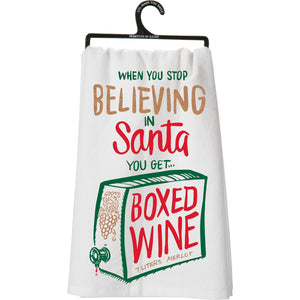 Tea Towel: When You Stop Believing in Santa, You Get Boxed Wine