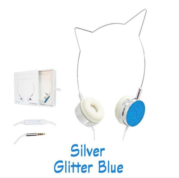 Silver & Blue Glitter Cat Ears Headphones