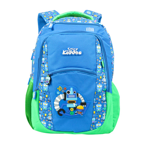 Image of Smily Dual Color Backpack Crazy Robot Theme Blue