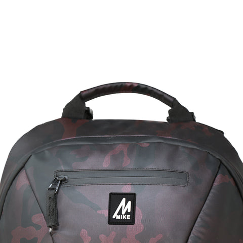 Mike Camo Laptop Backpack - Maroon & Black