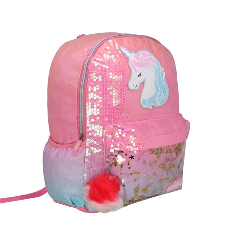 Image of Unicorn Charm Backpack For Girls - Pink