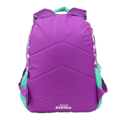 Smily Dual Color Backpack Unicorn Theme Purple