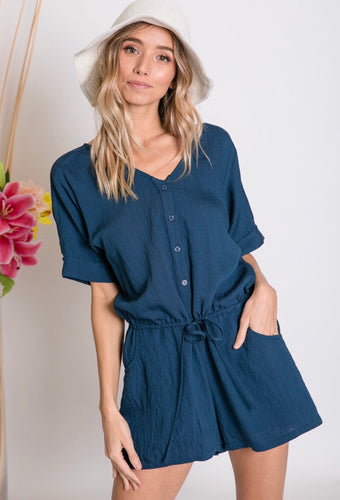 Easy Breezy - Navy Romper - Latitudes Boutique
