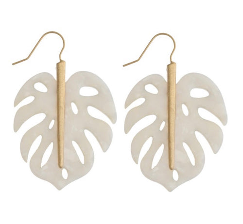 White & Gold Palm Leaf Earring - Latitudes Boutique