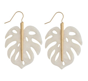 White & Gold Palm Leaf Earring