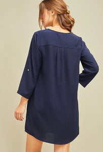 When in Rome Tunic Dress - Navy - Latitudes Boutique