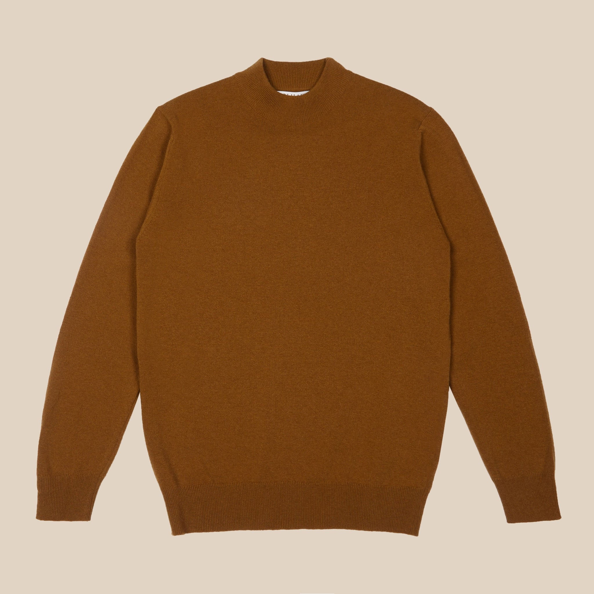 Superfine lambswool mock neck in vintage camel