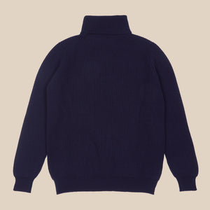 Cashmere ribbed submariner rollneck in navy