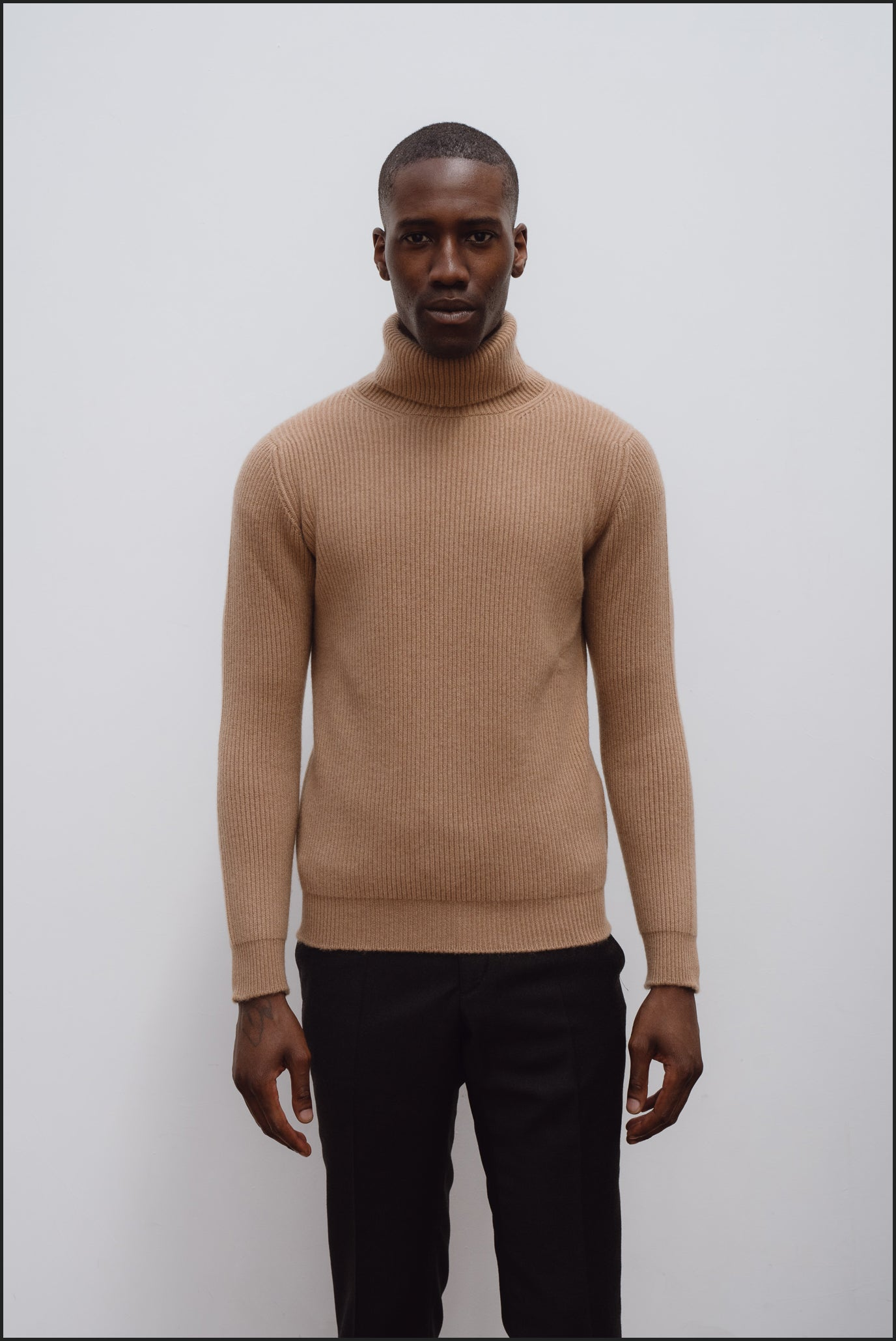 Cashmere ribbed submariner rollneck in camel