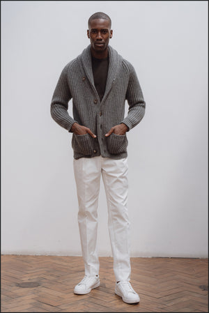 Superfine lambswool shawl collar cardigan in grey mélange