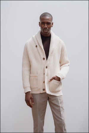 Superfine lambswool shawl collar cardigan in ecru