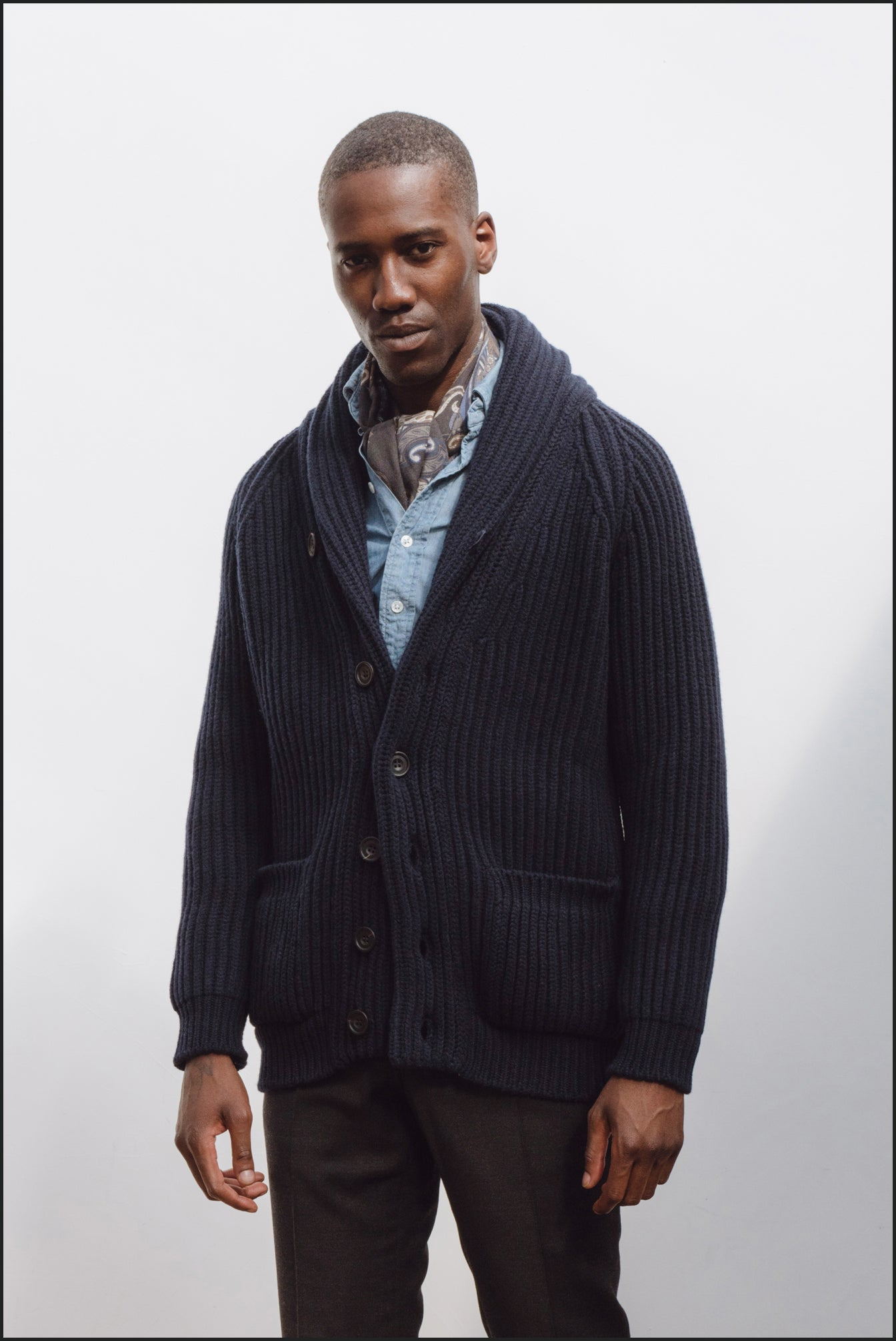 Superfine lambswool shawl collar cardigan in navy