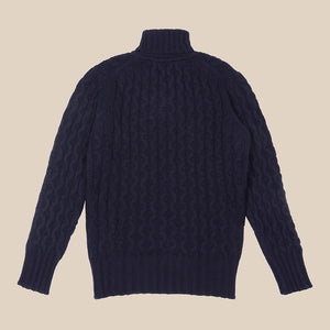 Superfine lambswool fisherman cable rollneck in navy