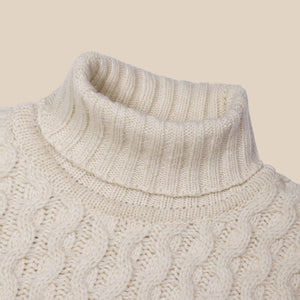 Superfine lambswool fisherman cable rollneck in ecru