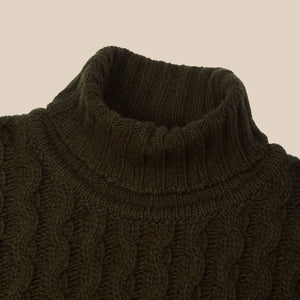 Superfine lambswool fisherman cable rollneck in olive