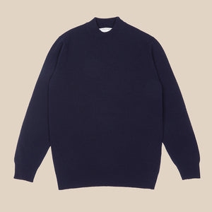 Superfine lambswool mock neck in navy