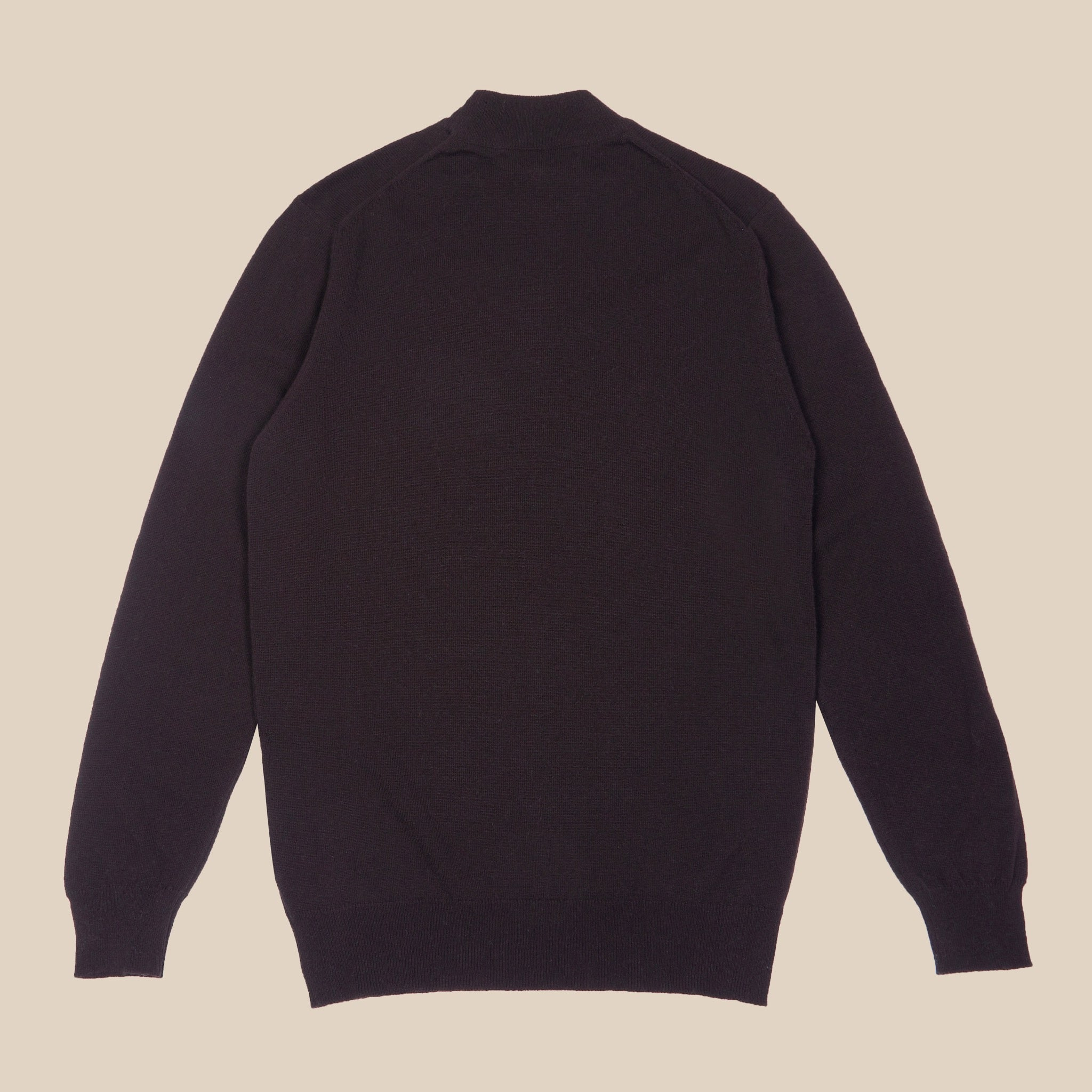 Superfine lambswool mock neck in dark brown