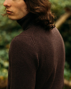 Cashmere ribbed submariner rollneck in merlot