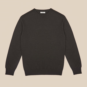 Cashmere crew neck in dark olive