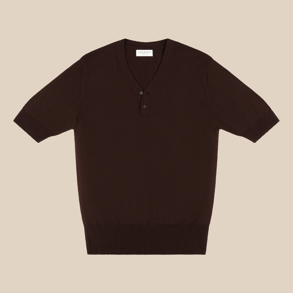Merino rower's henley shirt in brown