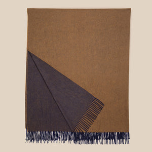 Double faced cashmere blanket in navy and saddle brown