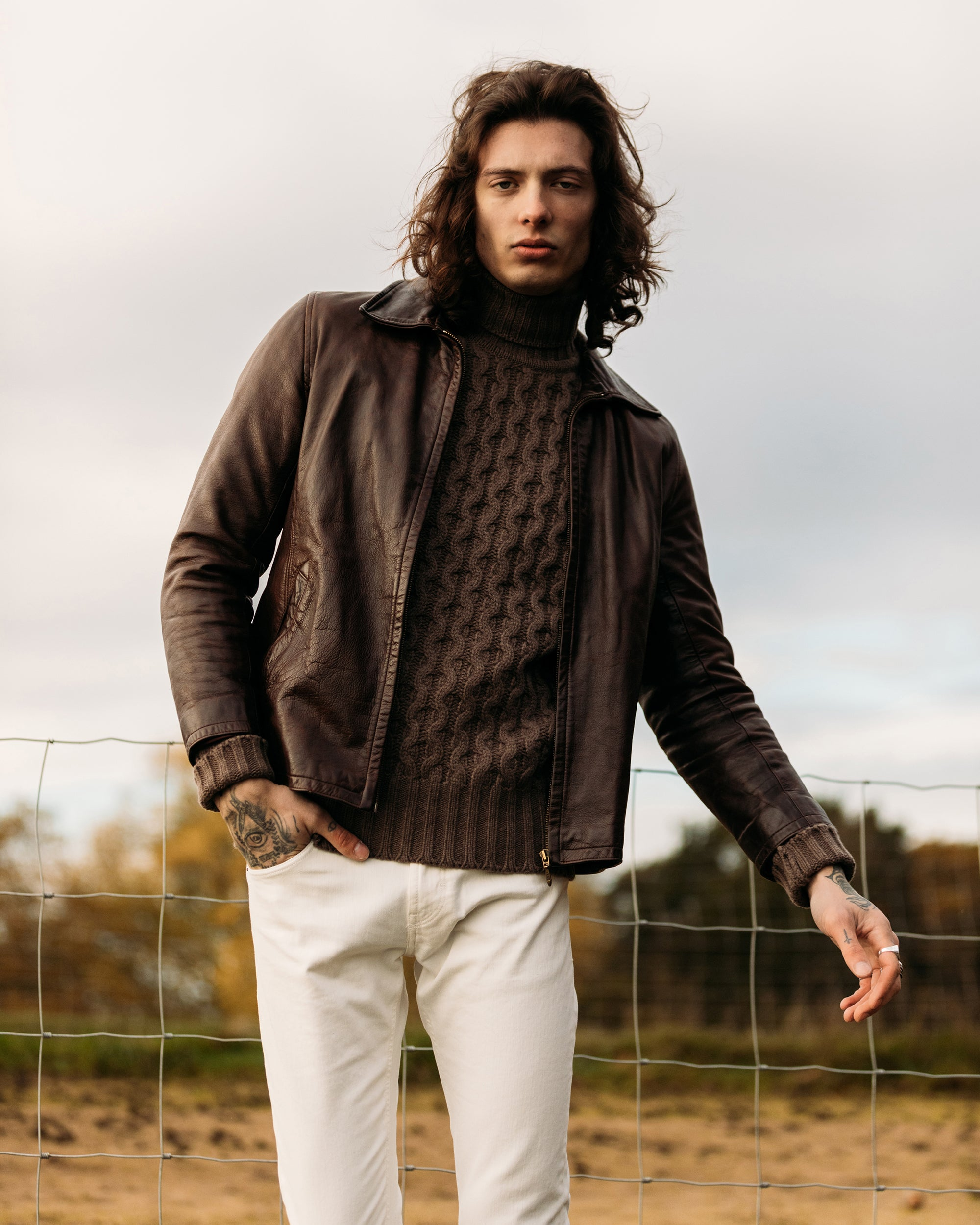 Superfine lambswool fisherman cable rollneck in tobacco brown